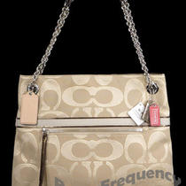 New Coach Poppy Khaki Bronze Signature Sateen Metallic Tote Bag Purse 21161 Nwt Photo