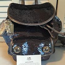 New Coach Poppy Leather Sequin Backpack Book Bag Duffel Tote 16916 Rare 398 Photo