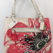 New Coach Poppy Lt Khaki Coral Black Placed Flower Glam Tote Bag Purse 19029 Photo