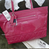 New Coach Poppy Pink Magenta Patent Leather Ew Large Tote Shoulder Bag Purse New Photo