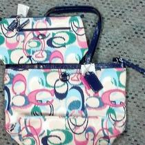 New Coach Purse/tote and Cosmetic/travel Bag Retail 346.00 Ikat Print W/box Photo