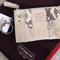 New Coach Python Metallic Small Wallet & Coin Purse Key Chain Photo