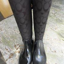 New Coach Rain Boots Cc Black Print Black Ribbon Lace Up Back Size 5 Photo