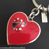 New Coach Rare Ladybug Crystal Red Heart Photo Locket Key Chain Ring Fob 92243 Photo