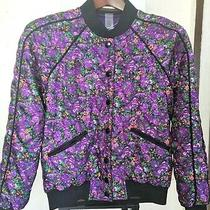 New Coach Reversible Satin Floral Quilted Violet Varsity Jacket Small 495 Nwt Photo