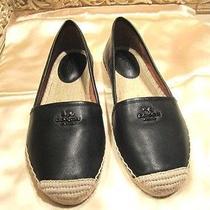 New Coach 'Rhodelle Espadrille' Black Lamb Leather Flat Shoes Size 8 B Photo