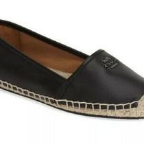 New Coach Rhodelle Espadrille Logo Flats Black Leather Shoes Women's Size 8.5 B Photo