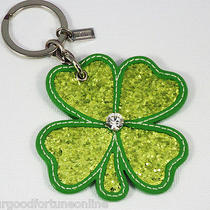 New Coach Shamrock 4 Leaf Clover Green Leather Key Fob Ring Chain Crystal 92867 Photo