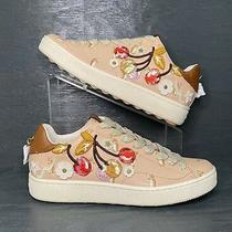 New Coach Shoes Cherry Patches Leather Sneakers Nude Pink Us Size 9.5 Penguins Photo