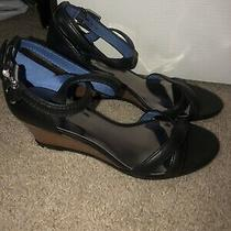 New Coach Shoes Wedges Black 8 Coretta Wood Leather Slingback Photo