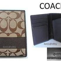 New Coach Sig Passport Case Card Slot Wallet Men Women -Brown Gift Receipt Box Photo