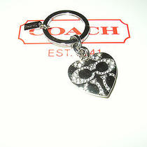 New Coach Signature C Pave Heart Picture Frame Key Ring Photo