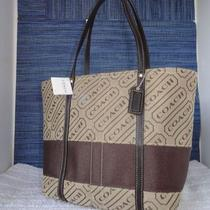 New Coach Signature Lozenge Tote Bag 12252 Khaki Brown Nwt Photo