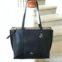 New Coach Signature May Leather Tote Laptop Bag 1575 Black Khaki Photo