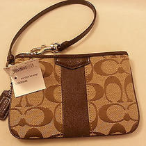 New Coach Signature Stripe Small Wristlet Mahogany Khaki F51158 Nwt Retails 58 Photo