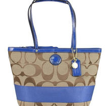 New Coach Signature Stripe Tote Purse Khaki/blue F19046 Photo