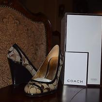 New Coach Signature Women's Shoes Platforms Wedges Brown and Black Size 5.5 B Photo