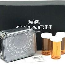 New Coach Silver Metallic Foil Leather Triple Pill Case Travel Box F60721 Photo
