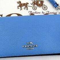 New Coach Slim Wallet Wristlet Azura / Navy ( Orig 250 ) Photo