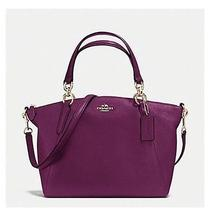 New Coach Small Kelsey Satchel in Pebble Leather Cross Body Bag Purse Plum  Photo