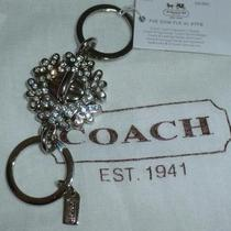 New Coach Snowflake Clear Crystal Turnlock Valet Key Ring Chain Fob Charm 93017 Photo