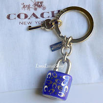 New Coach Sprinkle C Lucite Lock Key Ring Keychain Violet Purple / Gold Fob Rare Photo