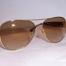 New Coach Sunglasses Hc 7059 (L138) 92496e Gold Ivory/gold Mirror Authentic Photo
