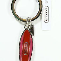 New Coach Surf Board Red / Purple Metal Key Ring Key Chain Fob Charm F67435 Photo