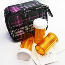 New Coach Tartan Plaid Signature Outline Travel Pill Case Pink/black Nwt Photo