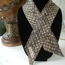 New Coach Taylor Brown Snake Print Reversible Signature 100% Silk Ponytail Scarf Photo