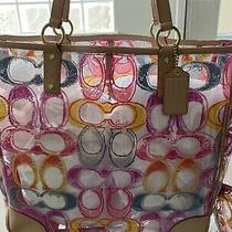 New Coach Transparent Clear Multi Color Scribble Sig Xl Tote/matching Wristlet Photo