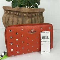 New Coach Wallet Medium Ombre Rivets Studs Deep Coral Leather Zip F57538  W39 Photo
