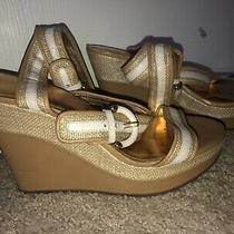 New Coach Wedges 9 Maralee Gold Cream Shoes Photo