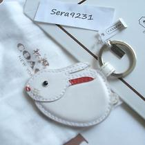 New Coach White Leather Bunny Rabbit Key Ring Chain Fob 62503 Photo