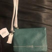 New Coach With Tag Green Leather Wallet Wristlet Photo