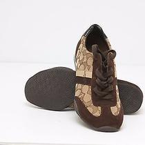 New Coach Womens Shoes Kelson Outline Suede Sneakers Khaki Chestnut Size 7.5 Photo
