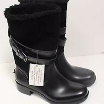 New Coach Womens Zena Black Leather & Shearling Snow Biker Boots Size 10 250 Photo