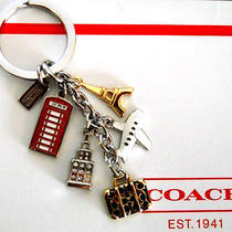 New Coach World Travel Case Jet/nyc/paris/uk/multi Mix Charm Key Chain Ring Fob Photo