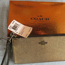 New Coach Wristlet Zippered Wallet Leather Gold Black Msrp 125 Photo