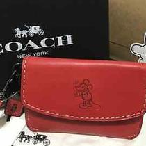 New Coach X Disney Mickey Mouse Red Envelope Wristlet Wallet Coach 66146 Photo