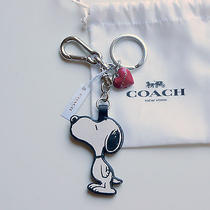 New Coach X Peanuts Leather Snoopy Heart Bag Charm Purse Fob Key Chain Ring Rare Photo