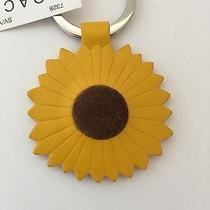 New Coach Yellow Leather Sunflower Key Ring Fob Chain Charm Nwt Rare Photo