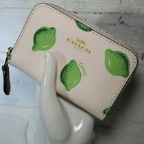 New Coach Zip Around Coin Case With Lime Print Photo