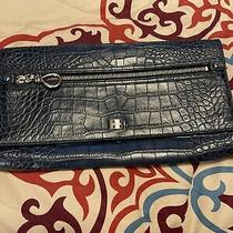 New Cole Haan Leather Envelope Clutch Blue Croc Embossed 12