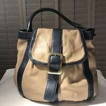 New Cole Haan Leather Hobo Bag Tan With Blue Accent  Photo