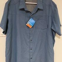 New Columbia 2xl Omni-Shade Mens Pilsner Peak Ii Short Sleeve Shirt Blue Upf 50 Photo