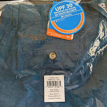 New Columbia Pfg Bonehead Ii Men's Shorts 38 X 10 Steel Blue Omni-Shade Fishing Photo