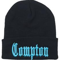 New Compton Cuffed Beanie Hat Cap With 3d Embroidery Black/aqua Photo