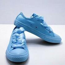 New - Converse Girl's Big Eyelets Blue Junior Sneakers- 5.5 Photo