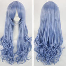 New Cosplay Date a Live Long Wavy Blue Heat Resistant Wig   Photo